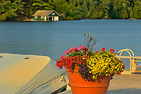 Flowerpot and boathouse, Minett, Ontario, Canada