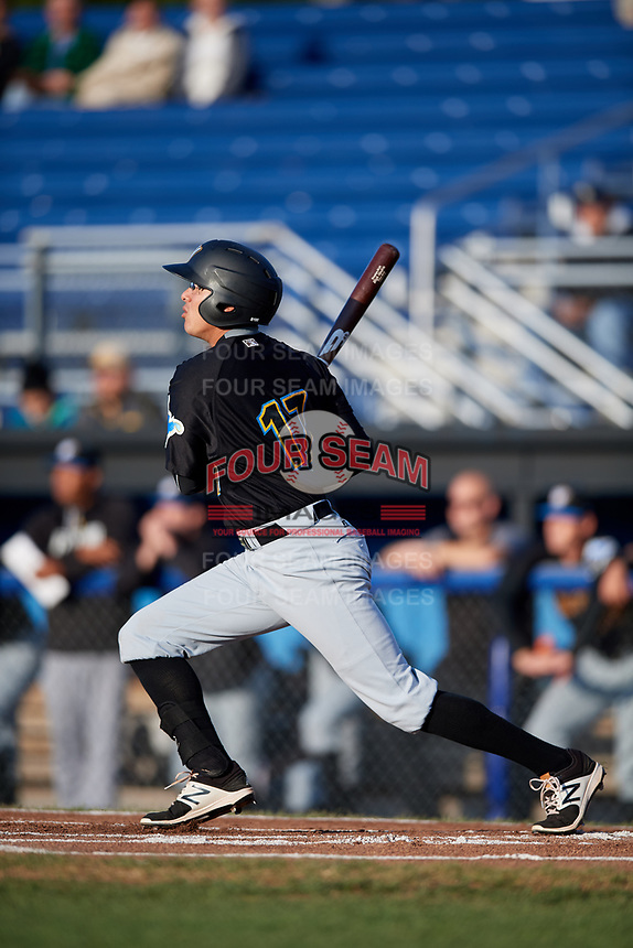 West Virginia Black Bears right fielder Bligh Madris (17) follows through on a swing during a game against the Batavia Muckdogs on August 5, 2017 at Dwyer Stadium in Batavia, New York.  Batavia defeated Williamsport 3-2.  (Mike Janes/Four Seam Images)