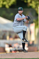 Augusta GreenJackets starting pitcher Grant Watson (22) delivers a pitch during a game against the Asheville Tourists at McCormick Field on August 5, 2016 in Asheville, North Carolina. The Tourists defeated the GreenJackets 7-6. (Tony Farlow/Four Seam Images)