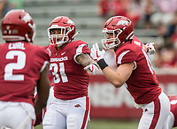 Hawgs Illustrated/BEN GOFF <br /> Grant Morgan (31) and Bumper Pool, Arkansas linebackers, line up in the first quarter Saturday, April 6, 2019, during the Arkansas Red-White game at Reynolds Razorback Stadium.