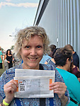 "Bethpage, New York, USA. August 19, 2016. Ann holds printed sheet with PRIORITY TICKETS to be in audience during taping of  CBS new comedy series ""Kevin Can Wait"" starring actor KEVIN JAMES, and set to premiere mid September 2016 The Sony Pictures Television Inc show is the first series to be shot entirely on Long Island, and is filmed at Gold Coast Studioes. Kevin James, a Long Island native, portrays the title character Kevin Gable, a newly retired police officer who lives with his family in Massapequa. Other cast member include: Erinn Hayes as his wife Donna, a school nurse; Taylor Spreitler as their older daughter Kendra; Ran Cartwright as Kendra's fiance; Mary-Charles Jones as the younger daughter Sara; and James DiGiacomo as the young son Jack. Episode #101 was written by Heather Flanders and Directed by Andy Fickman. Executive Producers are Mr. James, Bruce Helford, Rock Reuben, and Jess Sussman."
