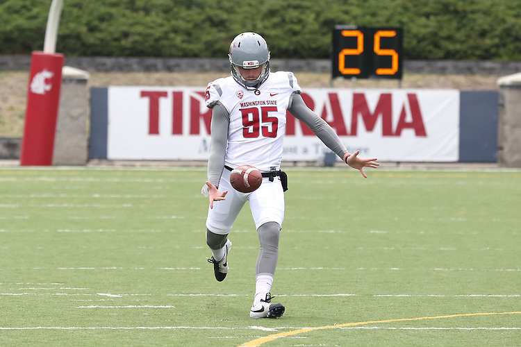 Zach Charme warms up during the annual Washington State Cougar spring game, the Crimson and Gray game, at Joe Albi Stadium in Spokane, Washington, on April 23, 2016.