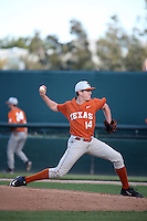 Beau Ridgeway (14) of the Texas Longhorns pitches against the UCLA Bruins at Jackie Robinson Stadium on March 12, 2016 in Los Angeles, California. UCLA defeated Texas, 5-4. (Larry Goren/Four Seam Images)