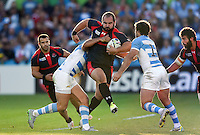 Levan Chilachava of Georgia takes on the Argentina defence. Rugby World Cup Pool C match between Argentina and Georgia on September 25, 2015 at Kingsholm Stadium in Gloucester, England. Photo by: Patrick Khachfe / Onside Images