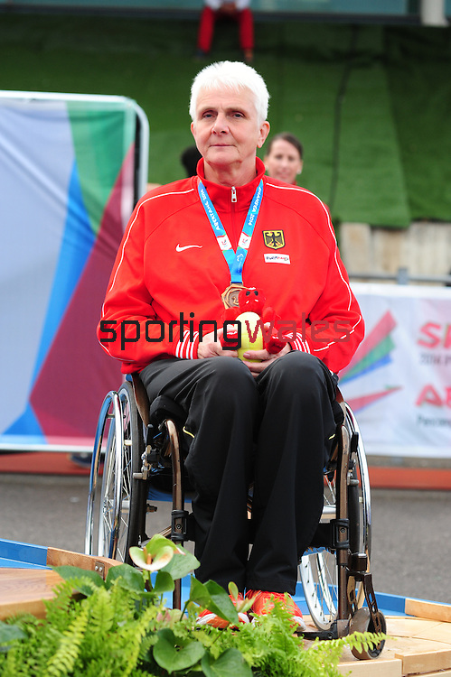 IPC European Athletics Championship 2014<br /> Swansea University<br /> <br /> Medal ceremony: Women's javelin throw F56.<br /> <br /> 21.08.14<br /> Chris Vaughan-SPORTINGWALES