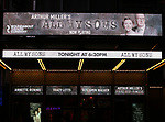 "Theatre Marquee for Arthur Miller's ""All My Sons"" starring Annette Bening and Tracy Letts at The American Airlines Theatre on April 22, 2019  in New York City."