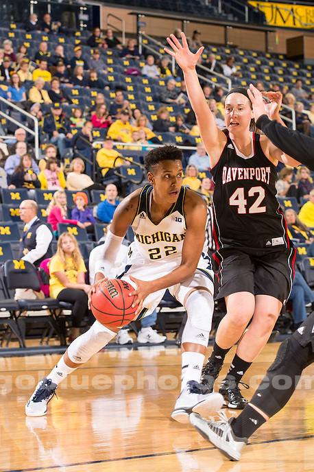The University of Michigan women's basketball team defeats Davenport, 73-39 (ex.), at Crisler Center in Ann Arbor, Mich. on November 2, 2014.