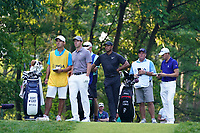 Rory McIlroy (NIR) and Tiger Woods (USA) and Justin Thomas (USA) wait to tee off on the 11th hole during the second round of the 100th PGA Championship at Bellerive Country Club, St. Louis, Missouri, USA. 8/11/2018.<br /> Picture: Golffile.ie | Brian Spurlock<br /> <br /> All photo usage must carry mandatory copyright credit (© Golffile | Brian Spurlock)