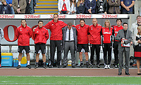 Pictured: Brendan Rodgers (centre) manager of Swansea City. Saturday 17 September 2011<br /> Re: Premiership football Swansea City FC v West Bromwich Albion at the Liberty Stadium, south Wales.