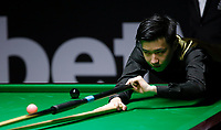 26th November 2019; York, England;  Zhao Xintong of China competes during the UK Snooker Championship 2019 first round match with Alexander Ursenbacher of Switzerland in York on Nov. 26, 2019.