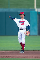 Orem Owlz shortstop Jeremiah Jackson (39) throws the ball back to the pitcher during a Pioneer League game against the Ogden Raptors at Home of the OWLZ on August 24, 2018 in Orem, Utah. The Ogden Raptors defeated the Orem Owlz by a score of 13-5. (Zachary Lucy/Four Seam Images)