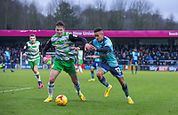 Paris Cowan-Hall of Wycombe Wanderers battles Matt Butcher of Yeovil Town during the Sky Bet League 2 match between Wycombe Wanderers and Yeovil Town at Adams Park, High Wycombe, England on 14 January 2017. Photo by Andy Rowland / PRiME Media Images.