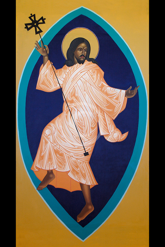 California, San Francisco, St. Gregory Nyssen Episcopal Church, Dancing Jesus icon by Mark Dukes