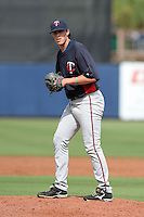 Minnesota Twins pitcher Trevor Hildenberger (77) during an Instructional League game against the Tampa Bay Rays on September 16, 2014 at Charlotte Sports Park in Port Charlotte, Florida.  (Mike Janes/Four Seam Images)