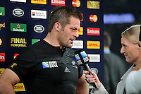 Richie McCaw of New Zealand is interviewed after the match. Rugby World Cup Final between New Zealand and Australia on October 31, 2015 at Twickenham Stadium in London, England. Photo by: Patrick Khachfe / Onside Images