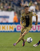 Philadelphia Union forward Sebastien Le Toux (9) looks for options. The Philadelphia Union defeated New England Revolution, 2-1, at Gillette Stadium on August 28, 2010.