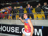 Tom Cutler celebrates victory with fans after the ANZAC Day AFL match between St Kilda Saints and Brisbane Lions at Westpac Stadium, Wellington, New Zealand on Friday, 25 April 2014. Photo: Dave Lintott / lintottphoto.co.nz