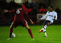 Preston North End's Daniel Johnson under pressure from Accrington Stanley's Liam Nolan<br /> <br /> Photographer Kevin Barnes/CameraSport<br /> <br /> The Carabao Cup - Accrington Stanley v Preston North End - Tuesday 8th August 2017 - Crown Ground - Accrington<br />  <br /> World Copyright &copy; 2017 CameraSport. All rights reserved. 43 Linden Ave. Countesthorpe. Leicester. England. LE8 5PG - Tel: +44 (0) 116 277 4147 - admin@camerasport.com - www.camerasport.com