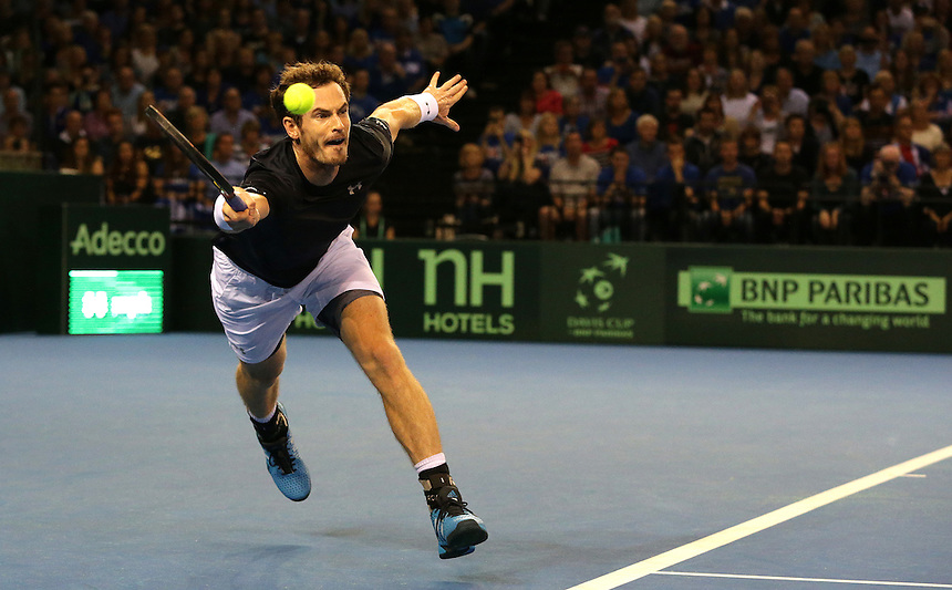 Andy Murray in action during his victory against Thanasi Kokkinakis - Andy Murray def Thanasi Kokkinakis 6-3, 6-0, 6-3<br /> <br /> Photographer Stephen White/CameraSport<br /> <br /> International Tennis - 2015 Davis Cup by BNP Paribas - World Group Semi-Final - Great Britain v Australia - Day 1 - Friday 18th September 2015 - The Emirates Arena - Glasgow<br /> <br /> &copy; CameraSport - 43 Linden Ave. Countesthorpe. Leicester. England. LE8 5PG - Tel: +44 (0) 116 277 4147 - admin@camerasport.com - www.camerasport.com.