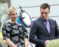 August 17, 2012 Kelly Rutherford, Ed Westwick  shooting on location for Gossip Girl in New York City. &copy; RW/MediaPunch Inc. /NortePhoto.com<br />