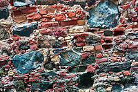 Close up of brick wall in Charlotte Amalle, US Virgin Islands.
