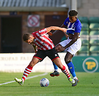Lincoln City's Neal Eardley vies for possession with Sheffield Wednesday's Lucas Joao<br /> <br /> Photographer Chris Vaughan/CameraSport<br /> <br /> Football Pre-Season Friendly - Lincoln City v Sheffield Wednesday - Friday 13th July 2018 - Sincil Bank - Lincoln<br /> <br /> World Copyright &copy; 2018 CameraSport. All rights reserved. 43 Linden Ave. Countesthorpe. Leicester. England. LE8 5PG - Tel: +44 (0) 116 277 4147 - admin@camerasport.com - www.camerasport.com