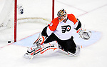 7 December 2009: Philadelphia Flyers' goaltender Brian Boucher makes a third period save against the Montreal Canadiens at the Bell Centre in Montreal, Quebec, Canada. The Canadiens defeated the Flyers 3-1. Mandatory Credit: Ed Wolfstein Photo