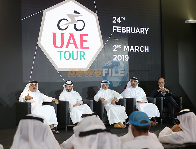The Supreme Organising Committee of the UAE Tour have unveiled the event's new logo and trophy. Both heptagonal seven sided shapes to reference the seven United Arab Emirates involved: Abu Dhabi, Dubai, Sharjah, Ajman, Fujairah, Ras al-Khaimah, and Umm al-Quwain. The merger between the Dubai Tour and Abu Dhabi Tour created a new seven-stage race that, in 2019, will start from Abu Dhabi and end in Dubai, held in the Audi Dubai Showroom, home of Al Nabooda Automobiles, 8th October 2018.<br /> Picture: Varuna Liyanage/UAE Tour/RCS | Cyclefile<br /> <br /> <br /> All photos usage must carry mandatory copyright credit (© Cyclefile | Varuna Liyanage/UAE Tour/RCS)