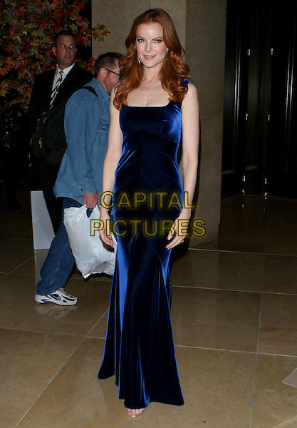 MARCIA CROSS.32nd Annual Crystal Ball held at The Beverly Hilton Hotel..USA, United States.19th October 2005.Ref: ADM/JW.full length royal blue velvet fitted floor length dress gown posed.www.capitalpictures.com.sales@capitalpictures.com.© Capital Pictures.