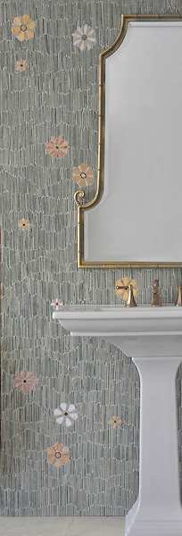 Meadow, a natural stone mosaic backsplash, shown in  Kay's Green, Wujan Jade, Chartreuse tumbled, Emperador Dark, Joanna, Blush, Rosa Noreiga, Thassos and Rosa Portogallo polished, is part of the Metamorphosis Collection by Sara Baldwin for New Ravenna Mosaics.