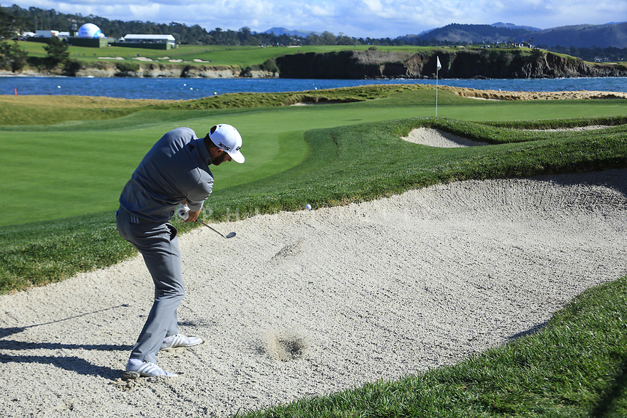 Dustin Johnson (USA) in action at Pebble Beach Golf Links during the third round of the AT&T Pro-Am, Pebble Beach Golf Links, Monterey, USA. 09/02/2019<br /> Picture: Golffile   Phil Inglis<br /> <br /> <br /> All photo usage must carry mandatory copyright credit (© Golffile   Phil Inglis)
