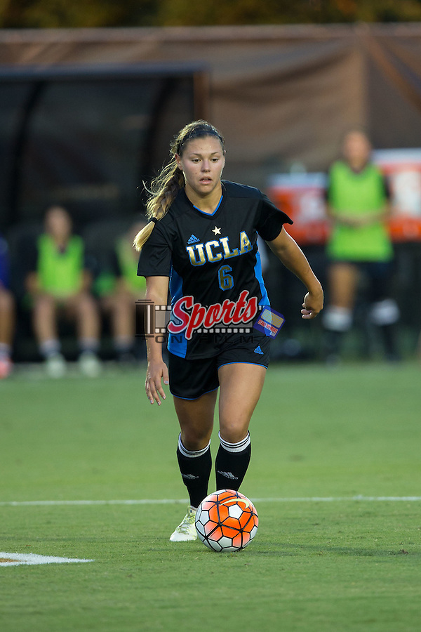 Lauren Kaskie (6) of the UCLA Bruins controls the ball during first half action against the Wake Forest Demon Deacons at Spry Soccer Stadium on September 11, 2015 in Winston-Salem, North Carolina.  The Bruins defeated the Demon Deacons 2-1.  (Brian Westerholt/Sports On Film)
