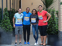 (l-r) Richard Lavillenie of France (Pole Vault), Aries Merritt of USA (110M Hurdles), Sanya Richards-Ross of USA (400m), Valerie Adams of New Zealand (Shot Put)  during Pre Event Press Conference at Grange Tower Bridge Hotel, Prescott Street, The Sainsbury's Anniversary Games Diamond League Event. London, England on 23 July 2015. Photo by Andy Rowland.