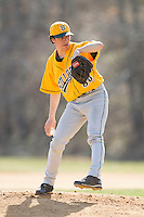 SUNY Sullivan Generals starting pitcher Braylin Nunez (38) in action against the County College of Morris Titans on the campus of County College of Morris on April 9, 2013 in Randolph, New Jersey.  The Titans defeated the Generals 12-4.  (Brian Westerholt/Four Seam Images)