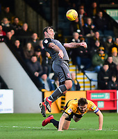 Cambridge United's Greg Taylor is fouled by Lincoln City's Matt Rhead<br /> <br /> Photographer Andrew Vaughan/CameraSport<br /> <br /> The EFL Sky Bet League Two - Cambridge United v Lincoln City - Saturday 29th December 2018  - Abbey Stadium - Cambridge<br /> <br /> World Copyright © 2018 CameraSport. All rights reserved. 43 Linden Ave. Countesthorpe. Leicester. England. LE8 5PG - Tel: +44 (0) 116 277 4147 - admin@camerasport.com - www.camerasport.com