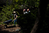 People work in a community garden organized to produce organic food at Brooklyn in New York,  May 10, 2013, Photo by Eduardo Munoz Alvarez / VIEWpress.