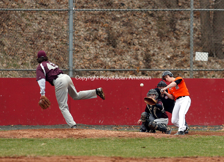 Naugatuck, CT- 08 April 2015-040815CM11- Watertown's Morgan Skelly keeps his eye on the ball following a pitch from Naugatuck's Jason Bradley during their NVL matchup at Rotary Field on Wednesday.   Christopher Massa Republican-American