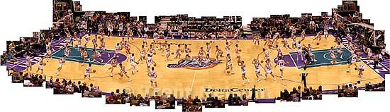 John Stockton photo illustration. Jazz vs. Cleveland Cavaliers. 01.18.2003<br />