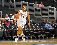 LOS ANGELES, CA - March 10, 2012: Guard Amber Orrange (33) of the Stanford University woman's basketball team competes against Cal during the PAC 12 Woman's Basketball Championship Game at the Staples Center in Los Angeles California. Final score Stanford won 77-62.