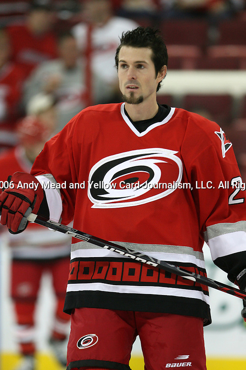 04 October 2006: Carolina's Scott Walker. The Carolina Hurricanes lost 3-2 to the Buffalo Sabres in a game decided in a penalty shootout after overtime at the RBC Center in Raleigh, North Carolina in a 2006-07 National Hockey League regular season opening night game.