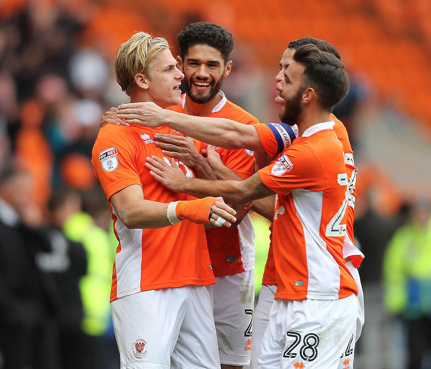 Blackpool's Brad Potts celebrates scoring his sides fourth goal <br /> <br /> Photographer Mick Walker/CameraSport<br /> <br /> The EFL Sky Bet League Two - Blackpool v Doncaster Rovers - Saturday 22nd October 2016 - Bloomfield Road - Blackpool<br /> <br /> World Copyright &copy; 2016 CameraSport. All rights reserved. 43 Linden Ave. Countesthorpe. Leicester. England. LE8 5PG - Tel: +44 (0) 116 277 4147 - admin@camerasport.com - www.camerasport.com