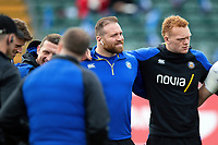 Henry Thomas and Miles Reid of Bath Rugby look on in a huddle prior to the match. Gallagher Premiership match, between Bath Rugby and Harlequins on March 2, 2019 at the Recreation Ground in Bath, England. Photo by: Patrick Khachfe / Onside Images