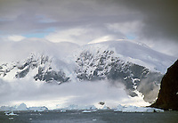 Mountains and icebergs at the Antarctic Peninsula, Antarctica