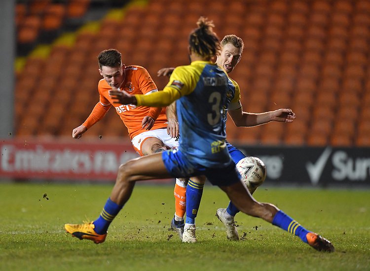 Blackpool's Jordan Thompson's shot narrowly misses the target<br /> <br /> Photographer Dave Howarth/CameraSport<br /> <br /> The Emirates FA Cup Second Round Replay - Blackpool v Solihull Moors - Tuesday 18th December 2018 - Bloomfield Road - Blackpool<br />  <br /> World Copyright © 2018 CameraSport. All rights reserved. 43 Linden Ave. Countesthorpe. Leicester. England. LE8 5PG - Tel: +44 (0) 116 277 4147 - admin@camerasport.com - www.camerasport.com