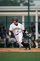 GCL Pirates left fielder Steven Kraft (6) follows through on a swing during the second game of a doubleheader against the GCL Yankees East on July 31, 2018 at Pirate City Complex in Bradenton, Florida.  GCL Pirates defeated GCL Yankees East 12-4.  (Mike Janes/Four Seam Images)