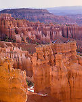 Bryce National Park, UT: Morning light on the pinnacles of The Queen's Garden and Boat Mesa - from Sunrise Point
