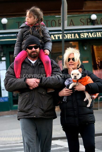 WWW.ACEPIXS.COM . . . . .  ....January 6 2011, New York City....Actor Hugh Jackman and his wife Deborra-Lee Furness pick up their daughter Ava from school in Greenwich Village on January 6 2001 in New York City....Please byline: NANCY RIVERA- ACEPIXS.COM...... *** ***..Ace Pictures, Inc:  ..Tel: 646 769 0430..e-mail: info@acepixs.com..web: http://www.acepixs.com