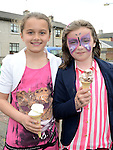 Gabriella Linkevicius and Aoibhinn Smith McNamara enjoying an ice cream at the HB Down Syndrome day at Rathmullen Community house. Photo:Colin Bell/pressphotos.ie