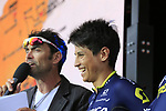 Esteban Chaves (COL) Orica-Scott team on stage at the Team Presentation in Burgplatz Dusseldorf before the 104th edition of the Tour de France 2017, Dusseldorf, Germany. 29th June 2017.<br /> Picture: Eoin Clarke | Cyclefile<br /> <br /> <br /> All photos usage must carry mandatory copyright credit (&copy; Cyclefile | Eoin Clarke)