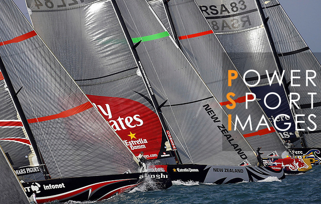 06 April 2007, Valencia, Spain --- America's Cup yachts race at the start of the fourth flight during the fourth day of the Louis Vuitton Act 13 fleet race competition in Valencia, eastern Spain. Photo by Victor Fraile / The Power of Sport Images